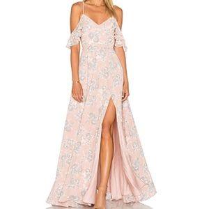 Revolve blush floral maxi dress
